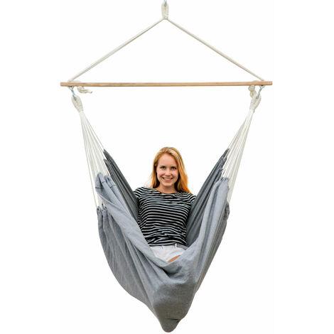 AMANKA Hamac 185x130cm EXTRA-SÛR Siège Suspendu balançoire en coton XXL grande chaise suspendue en toile max 150kg Gris