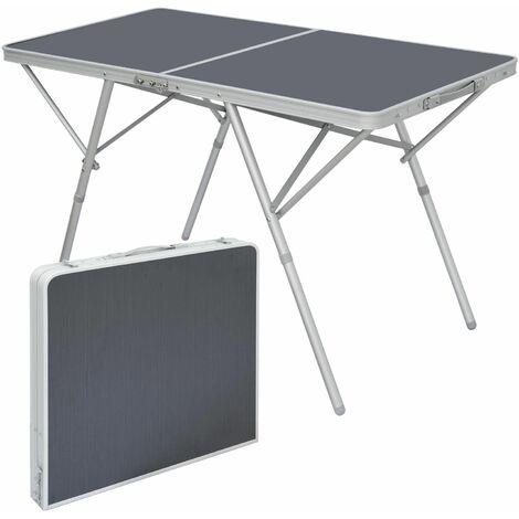 AMANKA Mesa de Camping 120x60x70cm mobiliario de acampada pícnic plegable portátil de aluminio ligero estable Antracita