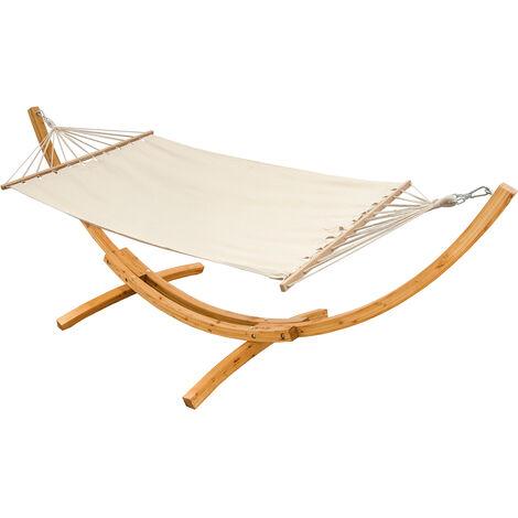 AMANKA Support en bois pour hamacs 310x120cm avec hamac XXL max. 200kg Beige