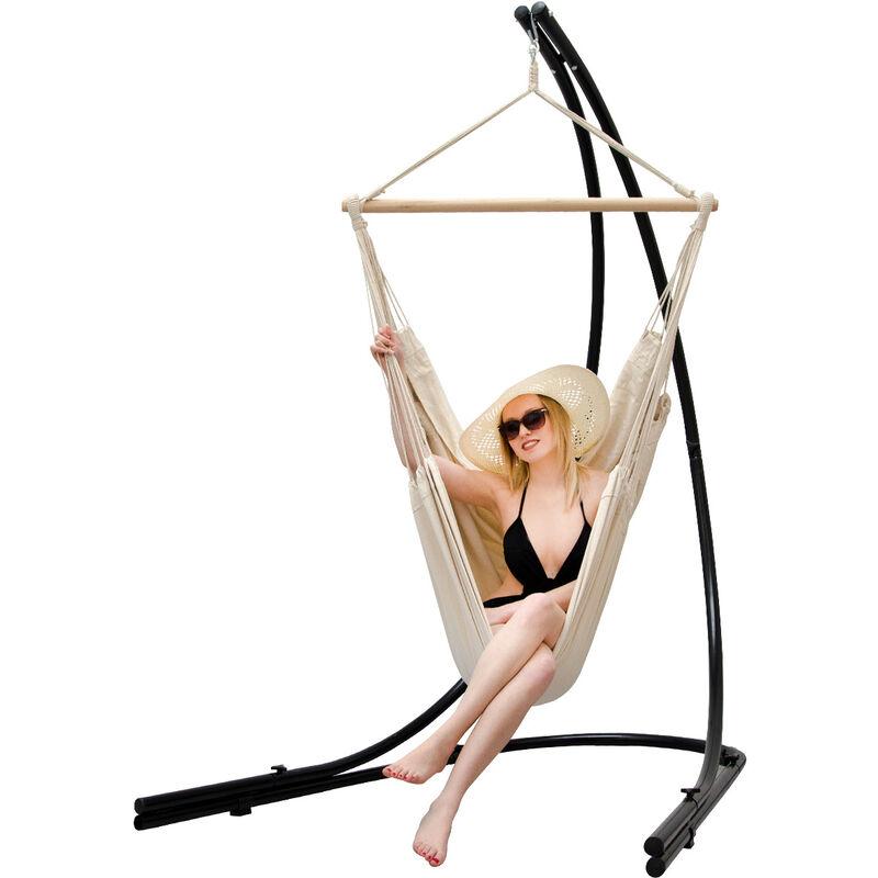 Support Hamac avec Chaise Suspendue XXL Fauteuil de Balancoire 360° Beige