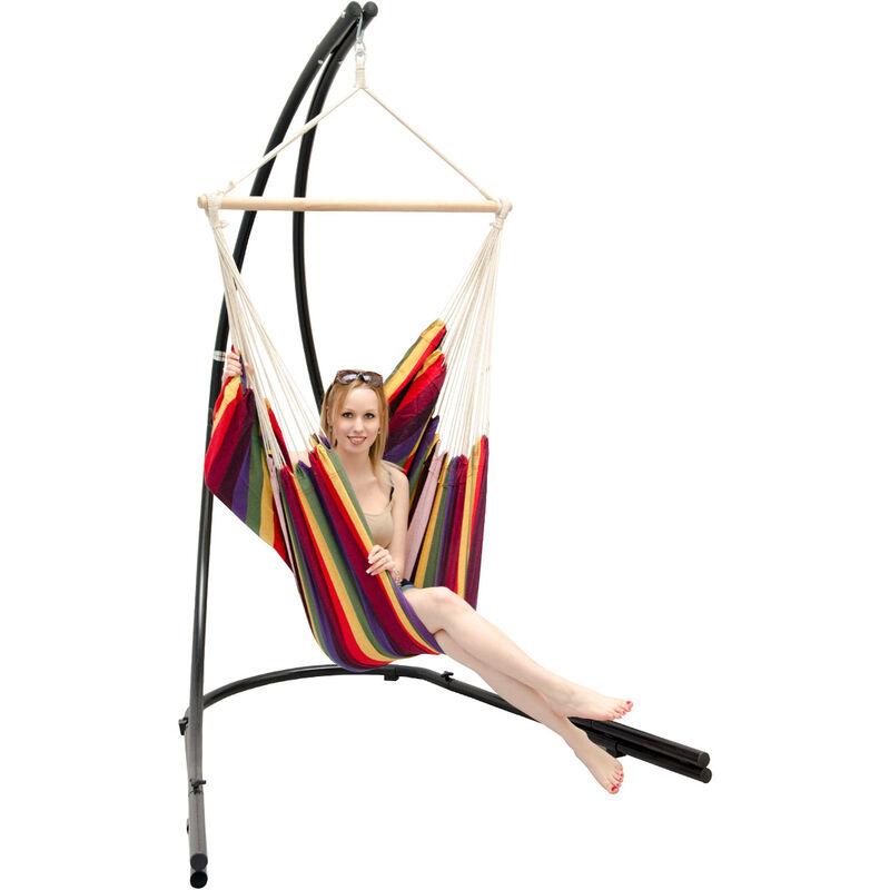 Support Hamac avec Chaise Suspendue XXL Fauteuil de Balancoire 360° Arc-en-ciel