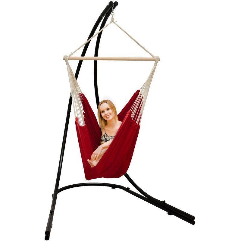 Support Hamac avec Chaise Suspendue XXL Fauteuil de Balancoire 360° Rouge
