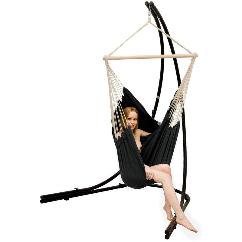 Support Hamac avec Chaise Suspendue XXL Fauteuil de Balancoire 360° Noir
