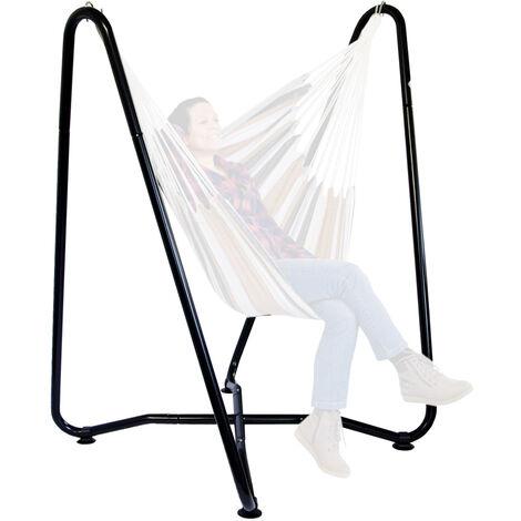 AMANKA Support pour fauteuil suspendu 155 cm | Soutien pour accrocher balancelle et chaises suspendues | en Acier couleur Noir | Poids max supporté 150 kg | pour internes et externes