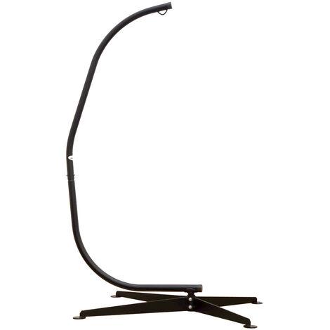 AMANKA Support pour fauteuil suspendu 205cm Soutien en acier pour accrocher balancelle et chaises suspendues poids max 150kg métal noir