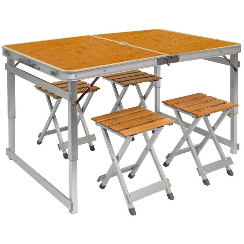 110x70x70cm Incl Pliable Hauteur Pliant De En 4 Du Tabourets Camping Réglable Table Couleur Amanka Format Bois Mallette K1FT3lJ5uc