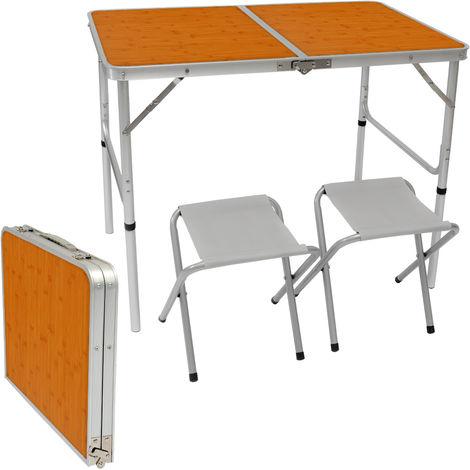 AMANKA Table de Camping pliable réglable en hauteur 90x60x70cm incl 2 Tabourets pliants format mallette Bambou