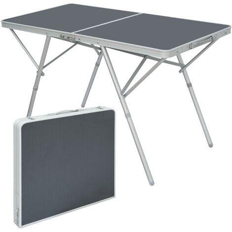 AMANKA Table Pliante 120x60x70cm meuble de camping pique-nique portable stable châssis en alu plateau en MDF Anthracite