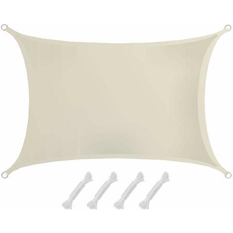 AMANKA Voile d'ombrage 3x2m en polyester hydrofuge protection du soleil UPF50+ toile rectangulaire ombre jardin Beige