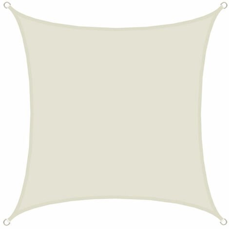 AMANKA Voile d'ombrage 3x3m en polyester hydrofuge protection du soleil UPF50+ toile carrée ombre jardin Beige