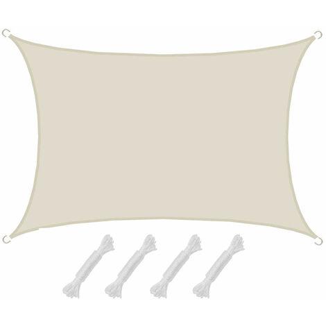 AMANKA Voile d'ombrage 4x3m en polyester hydrofuge protection du soleil UPF50+ toile rectangulaire ombre jardin Beige