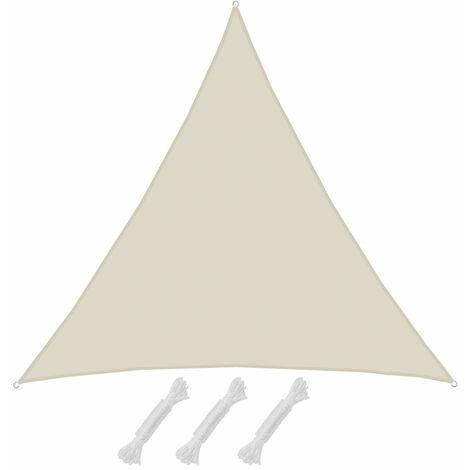 AMANKA Voile d'ombrage 5x5x5m en polyester hydrofuge protection du soleil UPF50+ toile triangulaire XXXL ombre jardin Beige