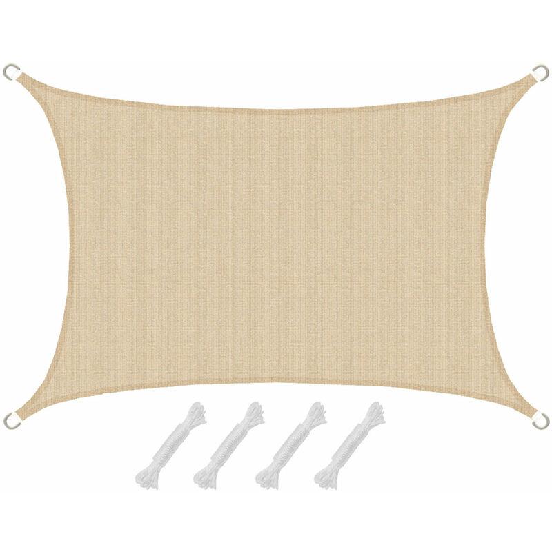 AMANKA Voile d\'ombrage en PE-HD toile rectangulaire de jardin 2x3m pour  faire ombre couverture respirant perméable Crème