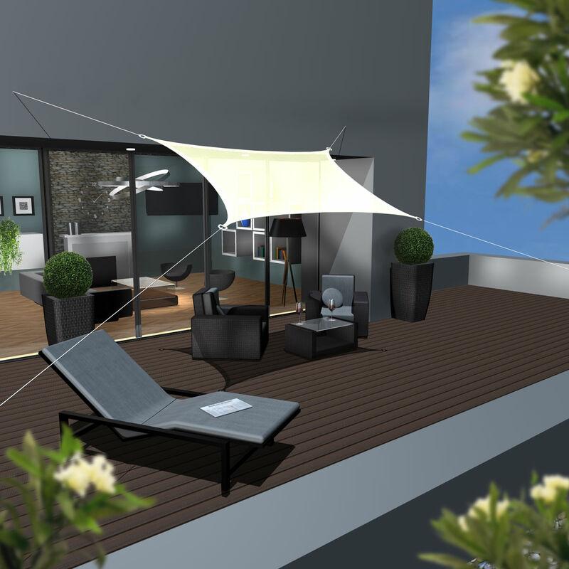 AMANKA Voile d\'ombrage en PE-HD toile rectangulaire de jardin 4x3m pour  faire ombre couverture respirant perméable Crème