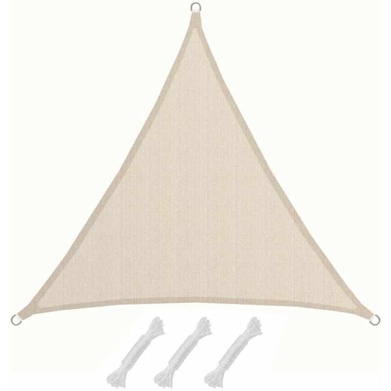 AMANKA Voile d\'ombrage XL 3x3x3m toile triangulaire de jardin pour faire  ombre en PE-HD respirant perméable Crème