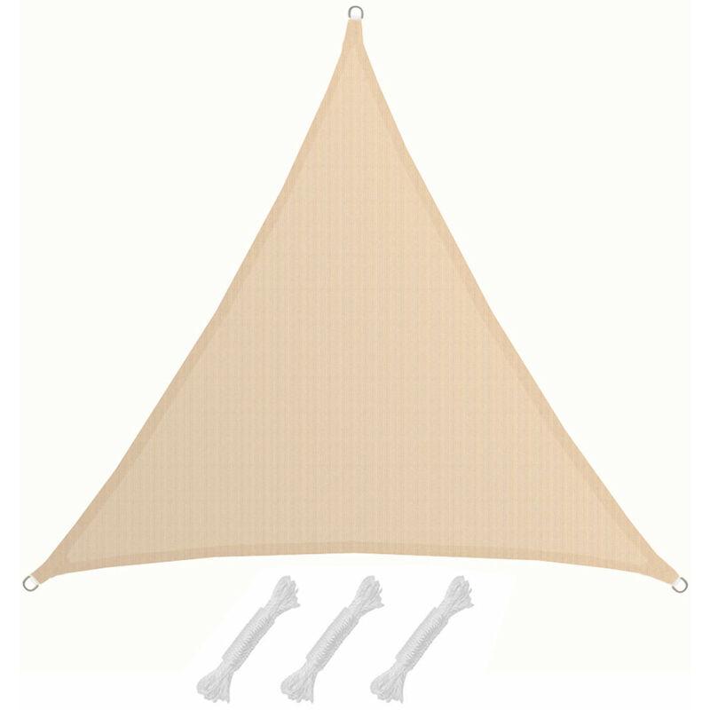 AMANKA Voile d\'ombrage XXL 5x5x5m toile triangulaire de jardin pour faire  ombre en PE-HD respirant perméable Crème