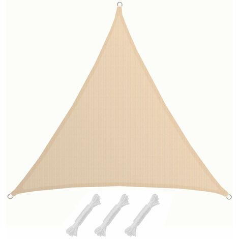 AMANKA Voile d'ombrage XXL 5x5x5m toile triangulaire de jardin pour faire ombre en PE-HD respirant perméable Crème