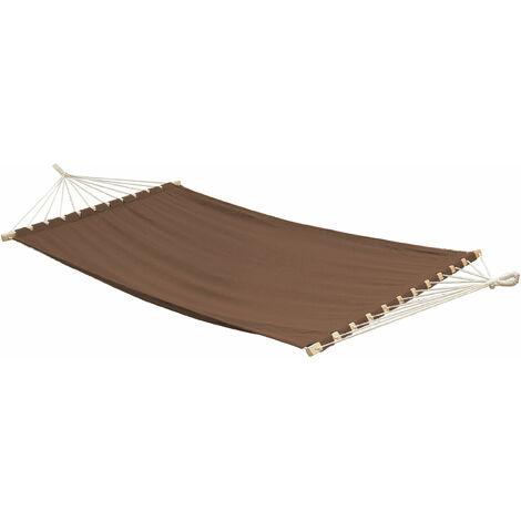 AMANKA XXL Hamaca grande para 2 personas 200x120 con dos barras de madera Marrón