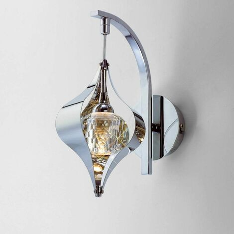 """main image of """"Amano wall light with switch 1 Polished chrome / crystal bulb"""""""