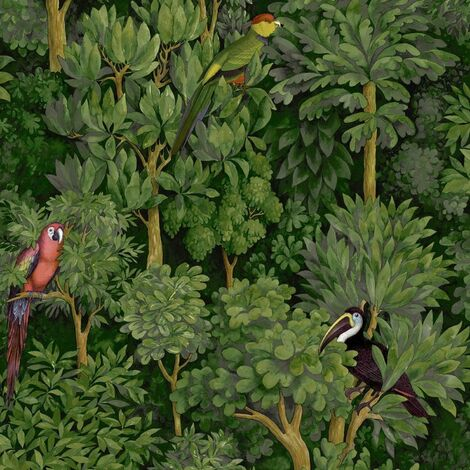 Amazonia Botanist Green Or Teal Wallpaper Jungle Themed Smooth Finish