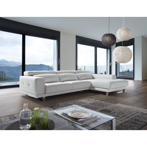 Ambar Italian Leather Corner Group Sofa Blanco White