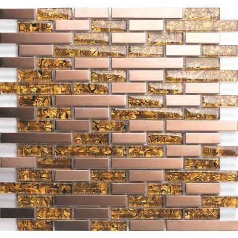 Amber Glass & Brushed Copper Effect Stainless Steel Mosaic Tiles MT0169