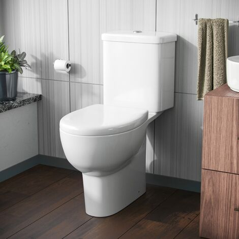 Amber Rimless Close-Coupled WC Toilet Pan and Soft Close Seat with Dual Flush