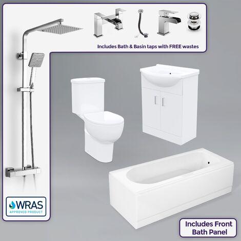 Amber White Suite Modern Bath Toilet Vanity Shower Mixer Basin Tap