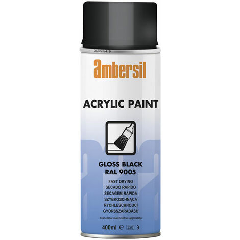 Ambersil 20182-AA Acrylic Paint Gloss Black RAL 9005 400ml