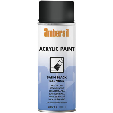 Ambersil 32060-AA Acrylic Paint Satin Black RAL 9005 400ml