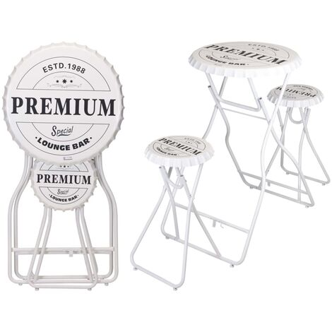 """main image of """"Ambiance Foldable Bar Table with Stools White - White"""""""