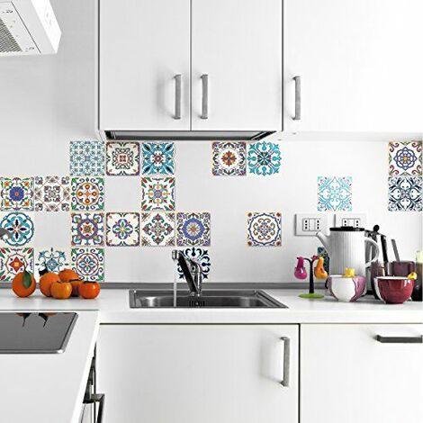 Ambiance-Live Carreaux de ciment adhésif mural - azulejos - 15 x 15 cm - 24 pièces