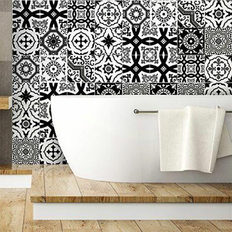 Ambiance-Live col-tiles-ROS-A829_15x15cm Stickers adhésifs carrelages, Multicolore, 15 x 15 cm, Set de 16 Pièces
