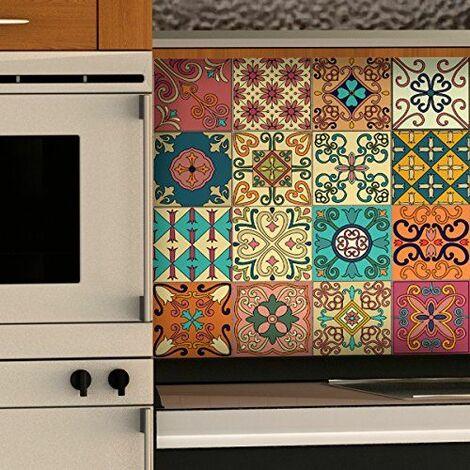 Ambiance-Live col-tiles-ROS-A838_10x10cm Stickers adhésifs carrelages, Multicolore, 10 x 10 cm, Set de 16 Pièces