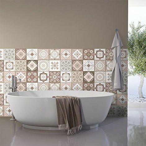 Ambiance-Live col-tiles-ROS-A890_15x15cm Stickers adhésifs carrelages, Multicolore, 15 x 15 cm, Set de 15 Pièces