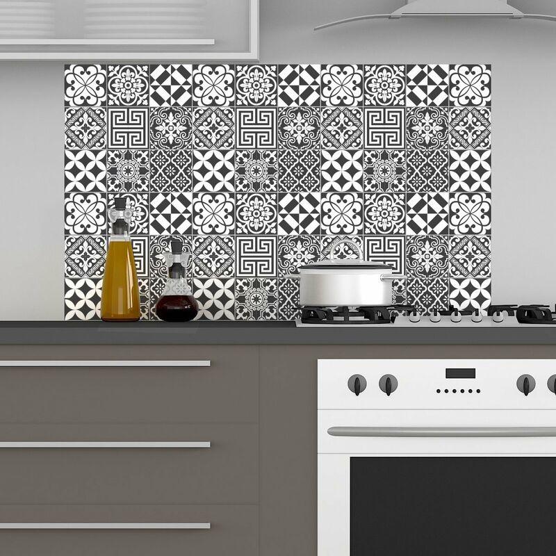 Ambiance-Live - Piastrelle adesive a mosaico, per parete bagno e cucina,  sfumature di grigio tradizionali, 10 x 10 cm (Confezione da 60)