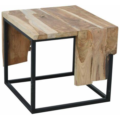 Ambiance Mesa auxiliar de madera de teca 54x50x46 cm - Marrón