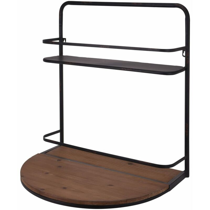Image of Wine Bar with Foldable Shelf 56x42x61.5 cm - Brown - Ambiance