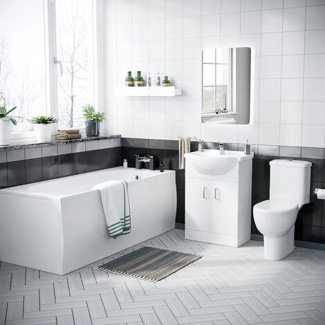 """main image of """"Ambon 1700mm Bath, Rimless Close Coupled Toilet & Vanity Basin Unit White"""""""