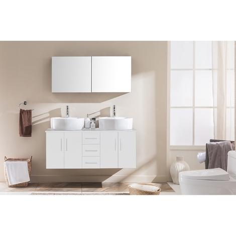 Ambre Blanc : ensemble salle de bain meuble + 2 vasques + 1 miroir