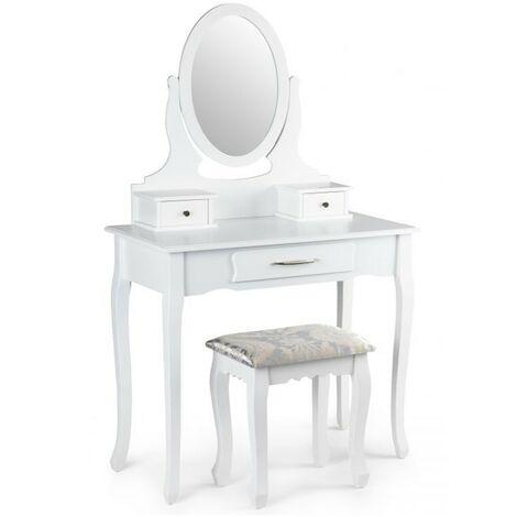 AMEL Coiffeuse cosmétique miroir réglable avec tabouret Blanc - Blanc