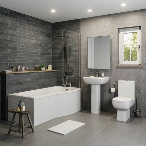 Amelie 'P' Bathroom Suite with Right Hand Bath