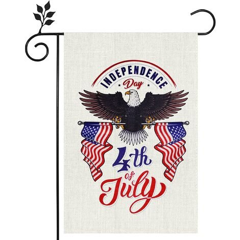 America Bald Eagle Patriotic Star Welcome Garden Flag, 4th of July Memorial Day Independence Day Yard Outdoor Decoration,Double Sided Vertical Burlap Home farmehouse Decor Flags 12 x 18 Inch
