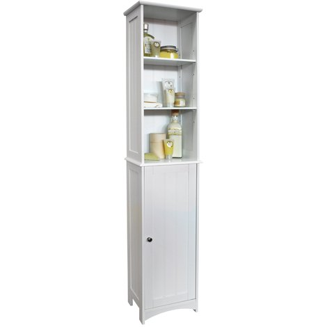 AMERICAN COTTAGE - Tall Bathroom Storage Cupboard with Display Shelves - White