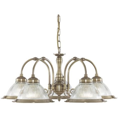 American Diner Antique Brass 5 Light Fitting With Clear Ribbed Glass