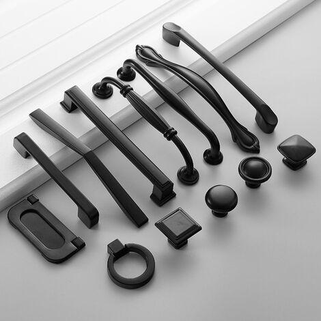 American Style Noir Cabinet Poignees de cuisine en alliage d'aluminium massif Armoires Boutons Poignees tiroirs meubles Poignee materiel, 23