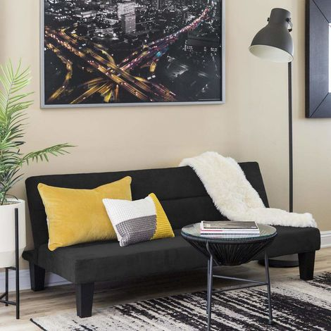 AMETISTA 2-Seat Sofa Bed Made Of Microfibre With Velvet Effect