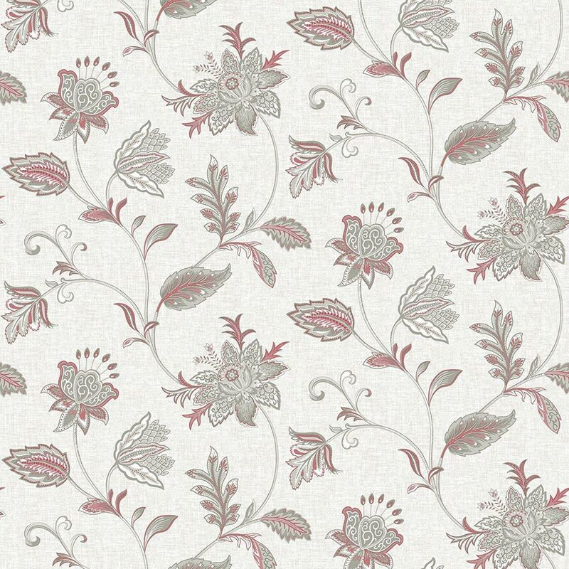 Image of Ami Georgette Pink Floral Damask Wallpaper Grey Sage Wall Covering
