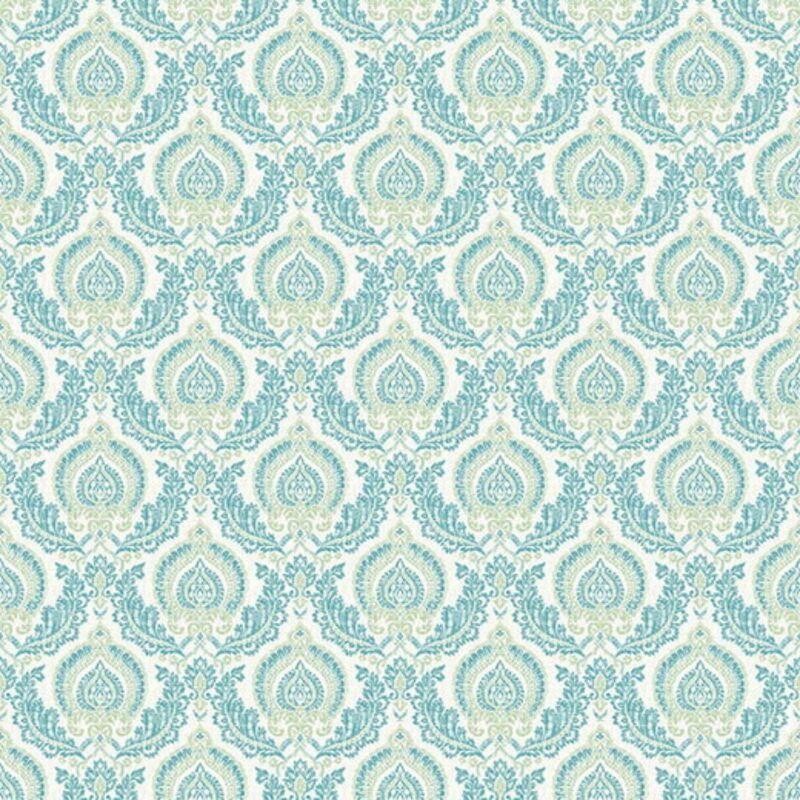Image of Ami Lulu Damask Wallpaper Green Blue Washable Traditional Retro - Fine Decor