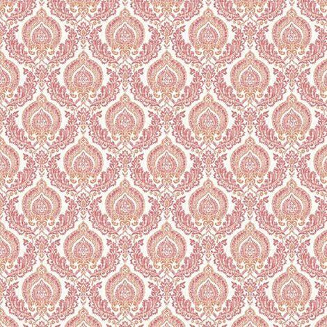 Ami Lulu Damask Wallpaper Red Orange Pink Washable Traditional Fine Decor Retro